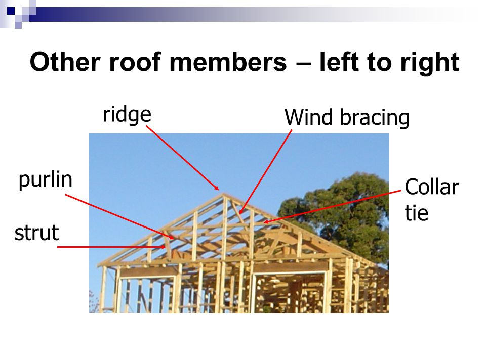 Other roof members – left to right purlin strut Wind bracing ridge Collar tie