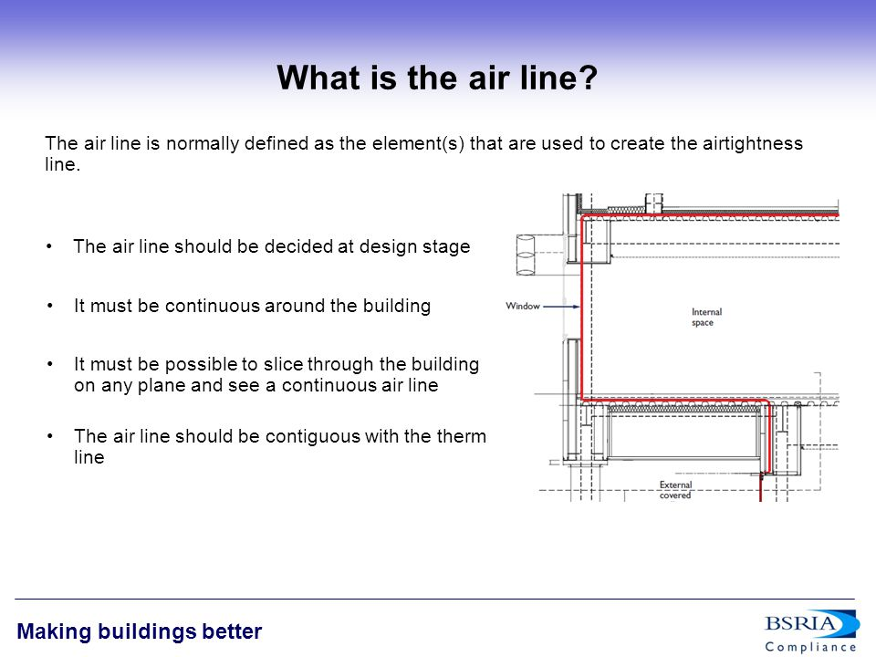 5 Making buildings better General Principles of Design & Construction The basic principles of airtightness are: Airtightness is not rocket science, but it doesn't happen by chance The airtightness strategy should be simple, robust and achievable The building air line should be identified pre-construction and preferably at design stage Responsibility should be given to a nominated individual or team Communication of its importance and relevance is key Responsibility should be given to a nominated individual or team All parties in the process should be involved Common details should be generated It must be clear who is responsible for sealing each element Protocols for checking detailing must be in place