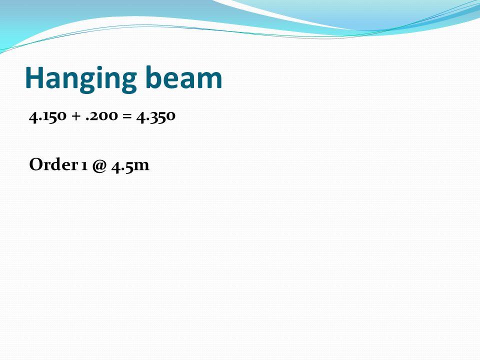 Hanging beam 4.150 +.200 = 4.350 Order 1 @ 4.5m