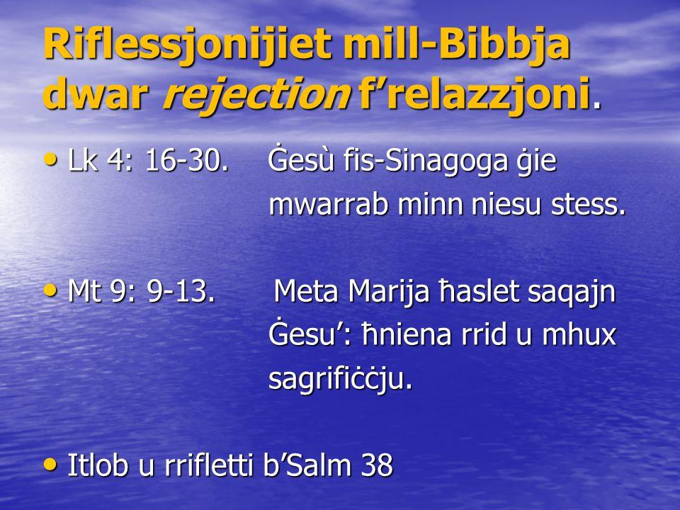 Riflessjonijiet mill-Bibbja dwar rejection f'relazzjoni.