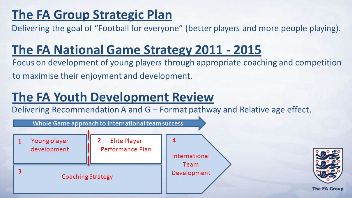 The FA National Game Strategy 2011 - 2015 Focus on development of young players through appropriate coaching and competition to maximise their enjoyment and development.