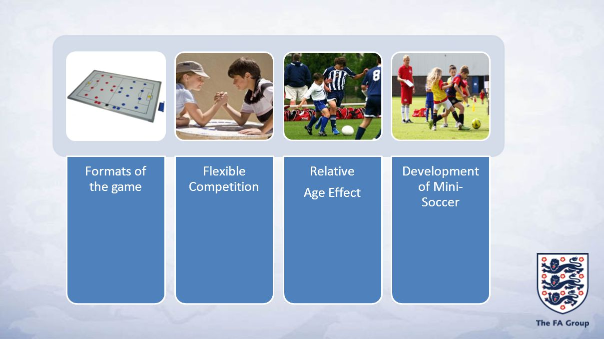 Formats of the game Flexible Competition Relative Age Effect Development of Mini- Soccer