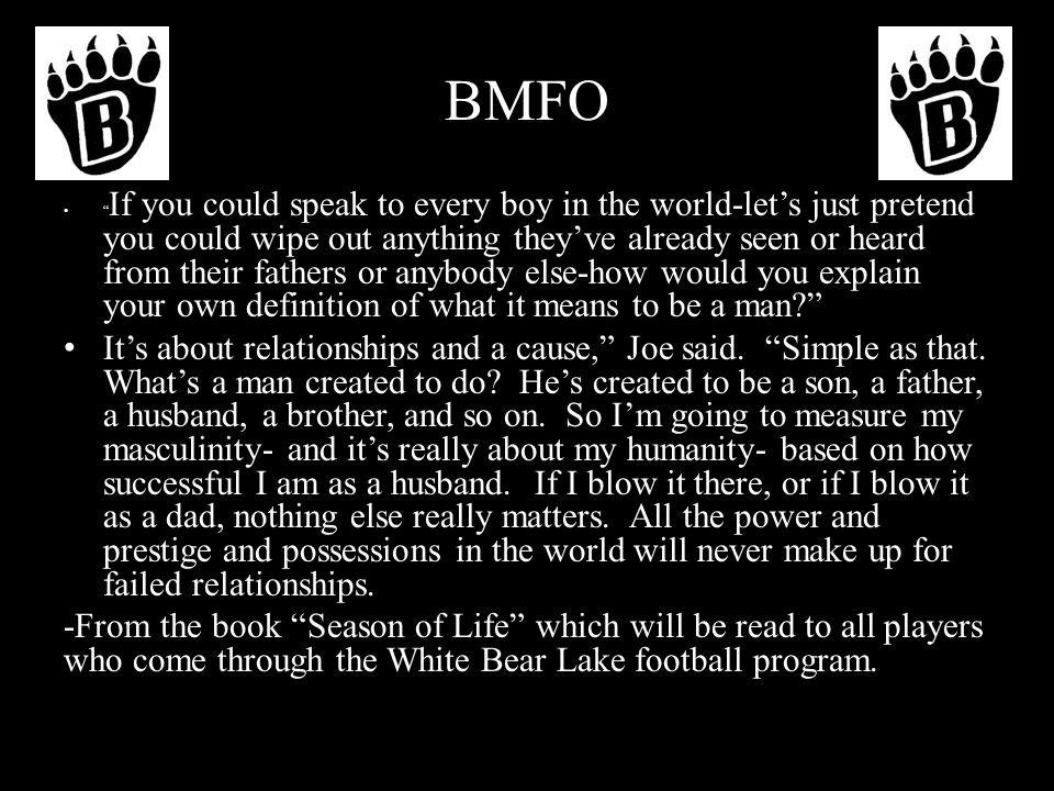 BMFO: Building Men For Others