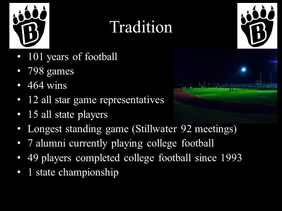 Tradition 101 years of football 798 games 464 wins 12 all star game representatives 15 all state players Longest standing game (Stillwater 92 meetings) 7 alumni currently playing college football 49 players completed college football since 1993 1 state championship