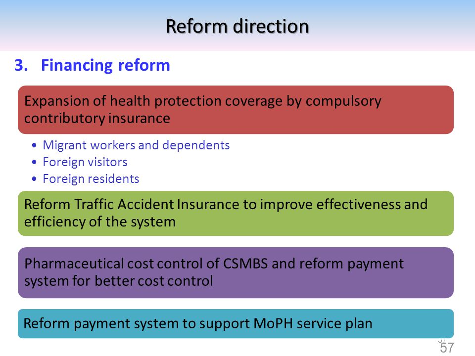 3.Financing reform 57 Reform direction Expansion of health protection coverage by compulsory contributory insurance Migrant workers and dependents For