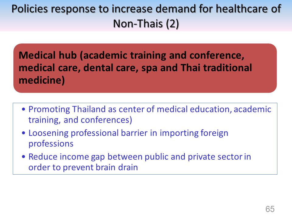 Policies response to increase demand for healthcare of Non-Thais (2) Medical hub (academic training and conference, medical care, dental care, spa and