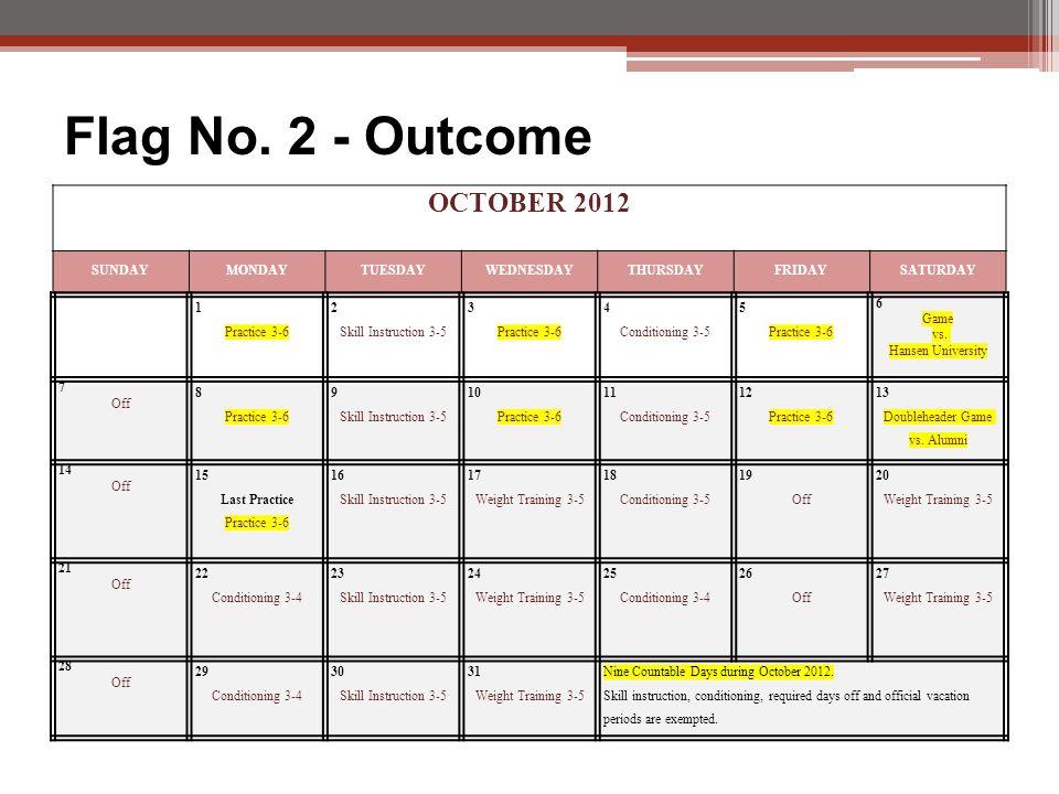 OCTOBER 2012 SUNDAYMONDAYTUESDAYWEDNESDAYTHURSDAYFRIDAYSATURDAY 1 Practice 3-6 2 Skill Instruction 3-5 3 Practice 3-6 4 Conditioning 3-5 5 Practice 3-6 6 Game vs.