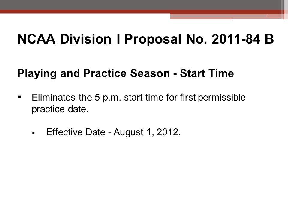 NCAA Division I Proposal No.