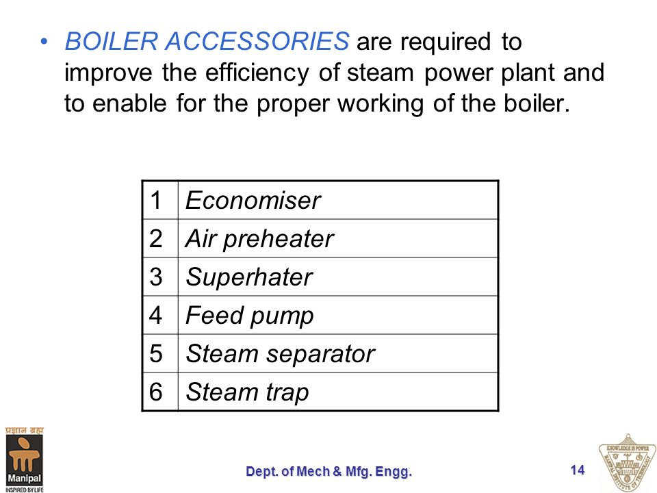 Dept. of Mech & Mfg. Engg. 14 BOILER ACCESSORIES are required to improve the efficiency of steam power plant and to enable for the proper working of t