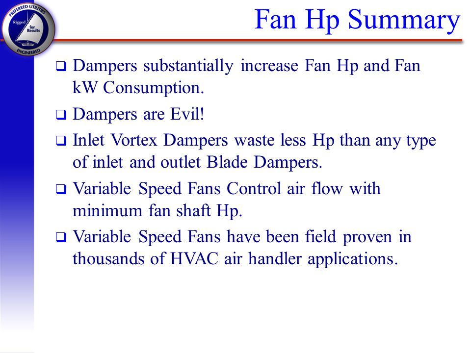 Fan Hp Summary q Dampers substantially increase Fan Hp and Fan kW Consumption. q Dampers are Evil! q Inlet Vortex Dampers waste less Hp than any type
