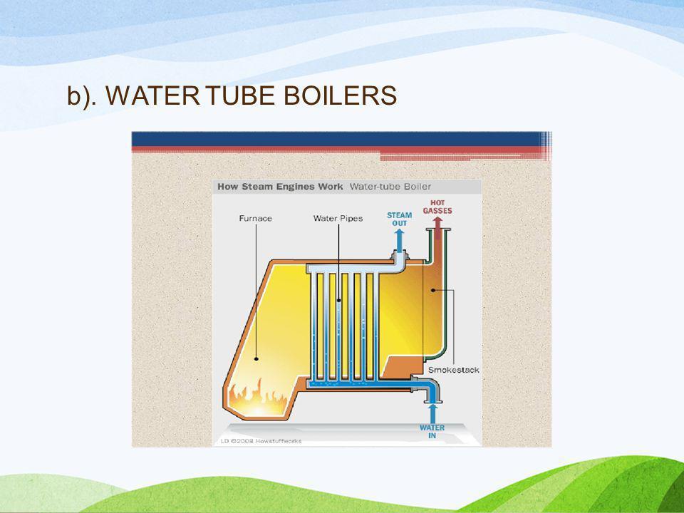 b). WATER TUBE BOILERS