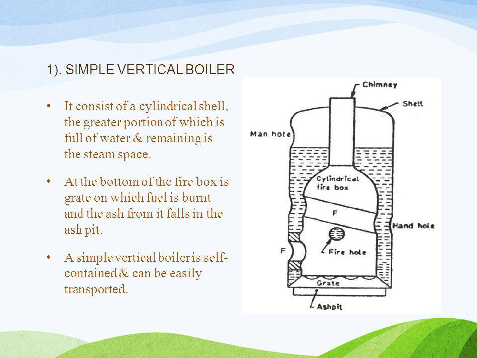 1). SIMPLE VERTICAL BOILER It consist of a cylindrical shell, the greater portion of which is full of water & remaining is the steam space. At the bot