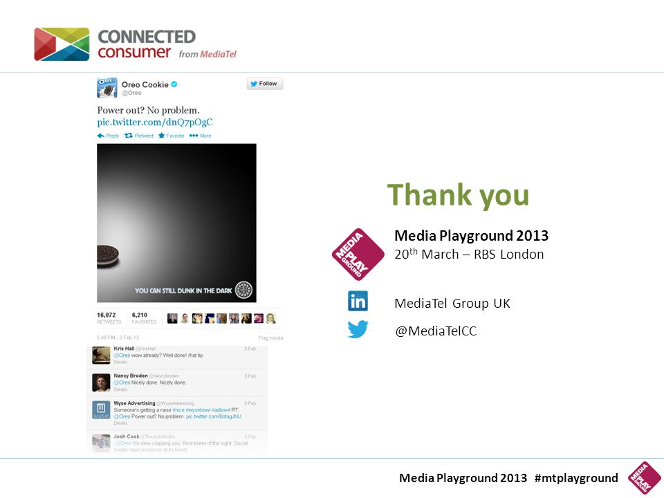 Thank you Media Playground 2013 20 th March – RBS London @MediaTelCC MediaTel Group UK