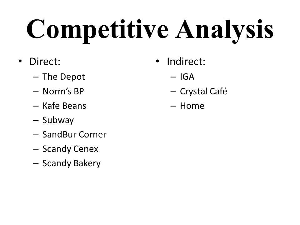 Competitive Analysis Direct: – The Depot – Norm's BP – Kafe Beans – Subway – SandBur Corner – Scandy Cenex – Scandy Bakery Indirect: – IGA – Crystal Café – Home