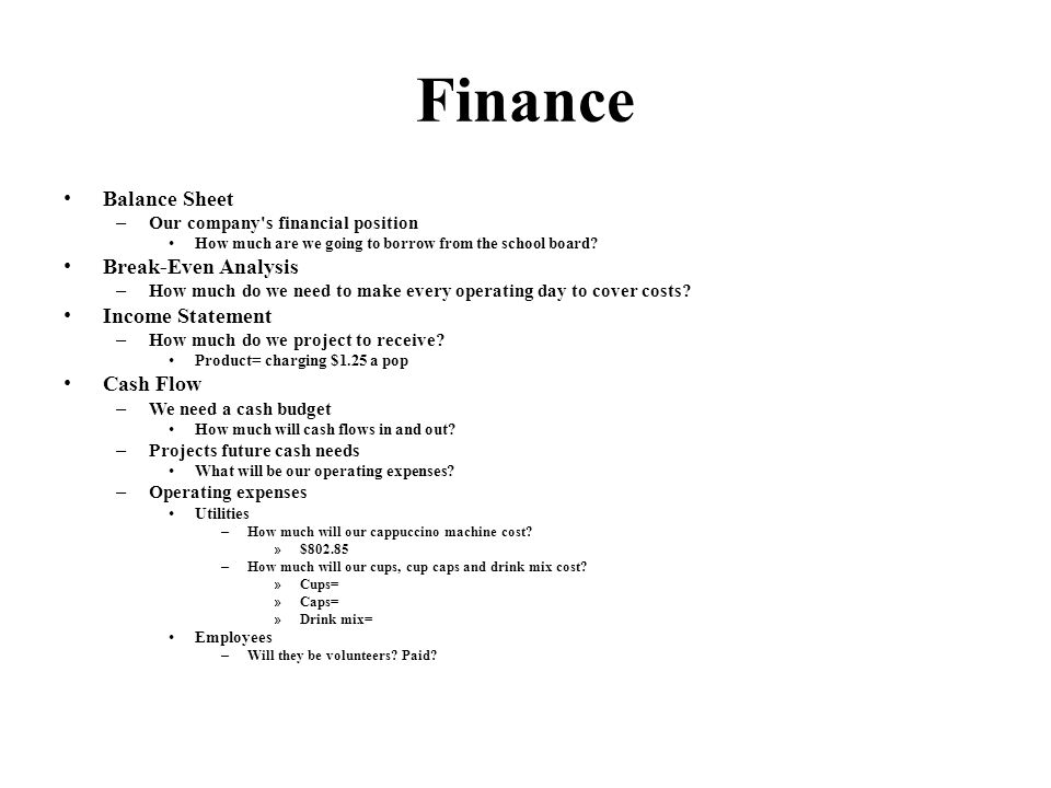 Finance Balance Sheet – Our company s financial position How much are we going to borrow from the school board.