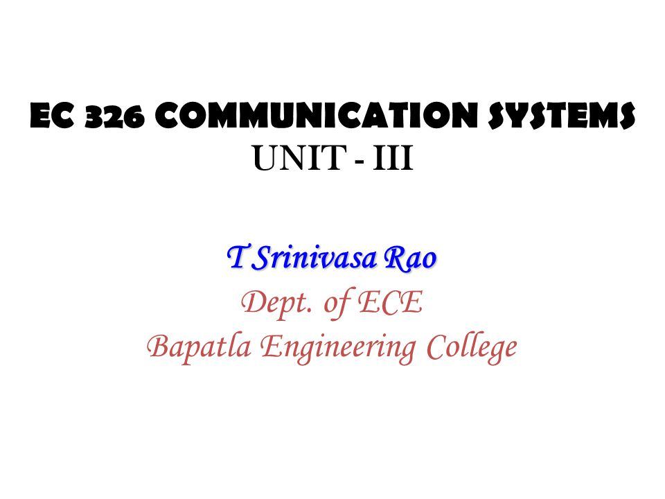 VIDEO DETECTOIN 33Communication Systems (EC-326)