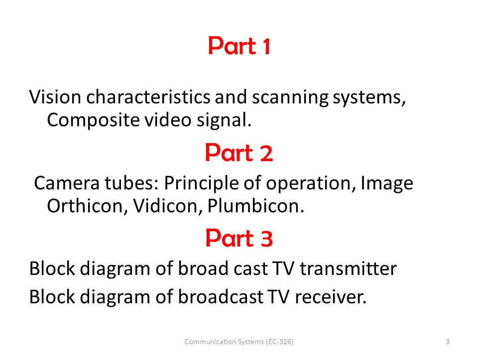 Part 1 Vision characteristics and scanning systems, Composite video signal. Part 2 Camera tubes: Principle of operation, Image Orthicon, Vidicon, Plum
