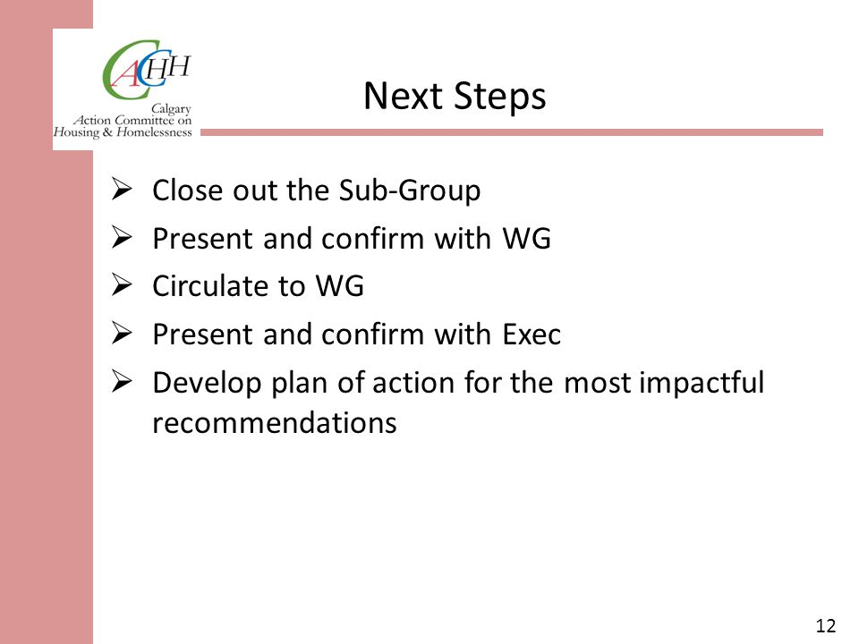 12 Next Steps  Close out the Sub-Group  Present and confirm with WG  Circulate to WG  Present and confirm with Exec  Develop plan of action for the most impactful recommendations