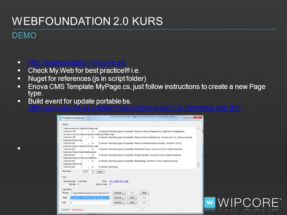  MVC RenderAction:  WEBFOUNDATION 2.0 KURS DEMO