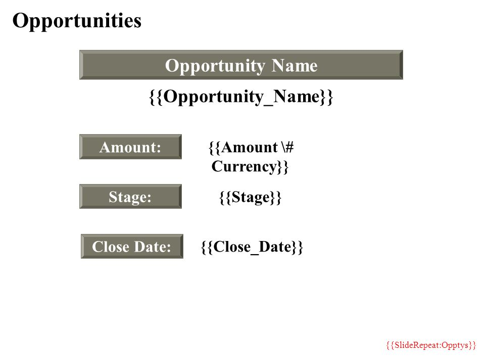 Opportunities Amount: Stage: Close Date: Opportunity Name {{Opportunity_Name}} {{Amount \# Currency}} {{Stage}} {{Close_Date}} {{SlideRepeat:Opptys}}