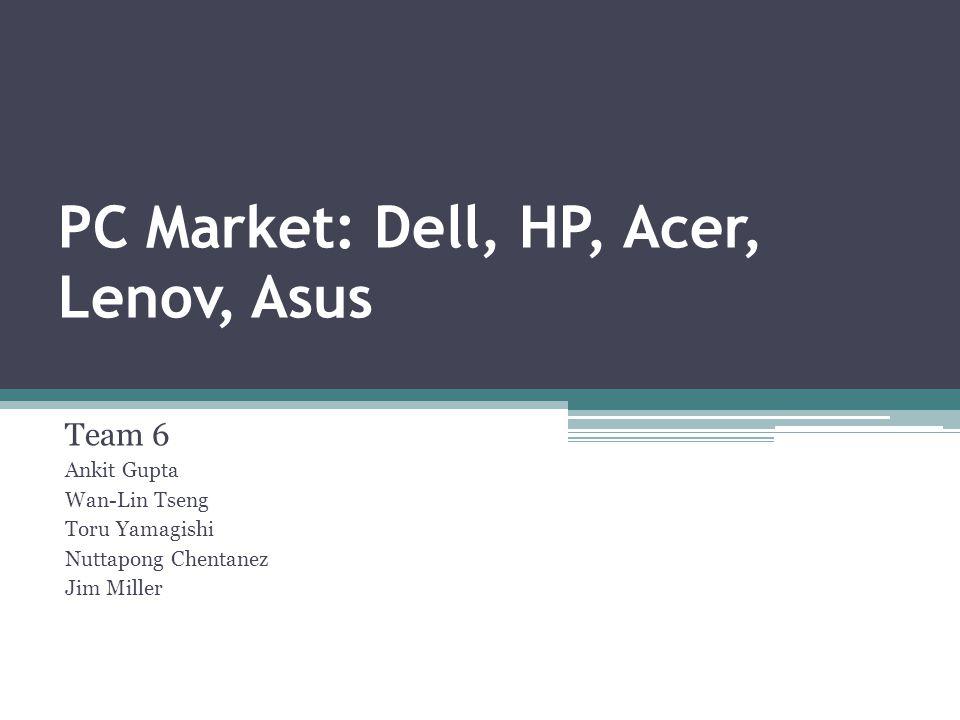 PC Market: Dell, HP, Acer, Lenov, Asus Team 6 Ankit Gupta Wan-Lin Tseng Toru Yamagishi Nuttapong Chentanez Jim Miller
