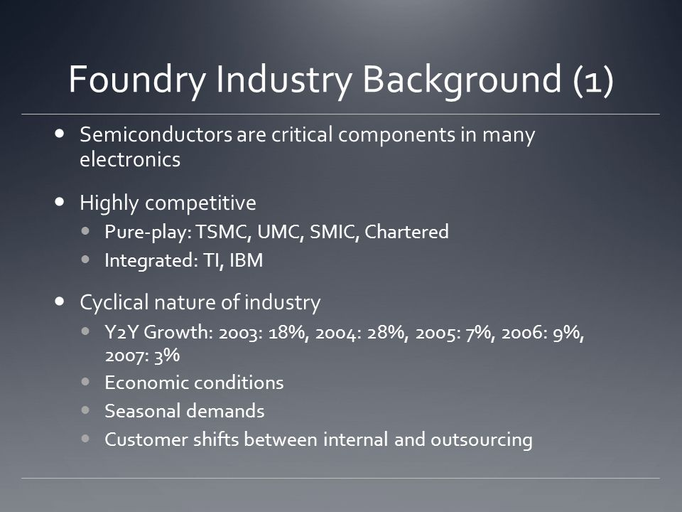 Foundry Industry Background (1) Semiconductors are critical components in many electronics Highly competitive Pure-play: TSMC, UMC, SMIC, Chartered Integrated: TI, IBM Cyclical nature of industry Y2Y Growth: 2003: 18%, 2004: 28%, 2005: 7%, 2006: 9%, 2007: 3% Economic conditions Seasonal demands Customer shifts between internal and outsourcing