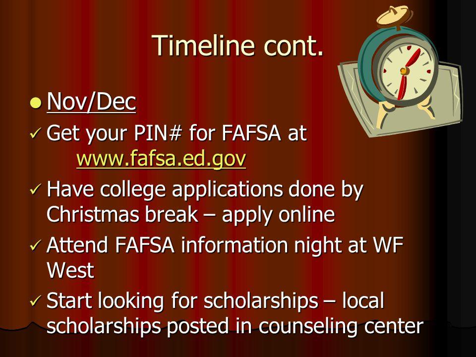 Timeline cont. Nov/Dec Nov/Dec Get your PIN# for FAFSA at www.fafsa.ed.gov Get your PIN# for FAFSA at www.fafsa.ed.gov www.fafsa.ed.gov Have college a