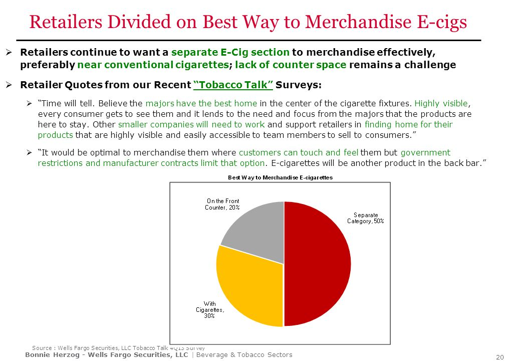 Bonnie Herzog - Wells Fargo Securities, LLC | Beverage & Tobacco Sectors Retailers Divided on Best Way to Merchandise E-cigs  Retailers continue to w