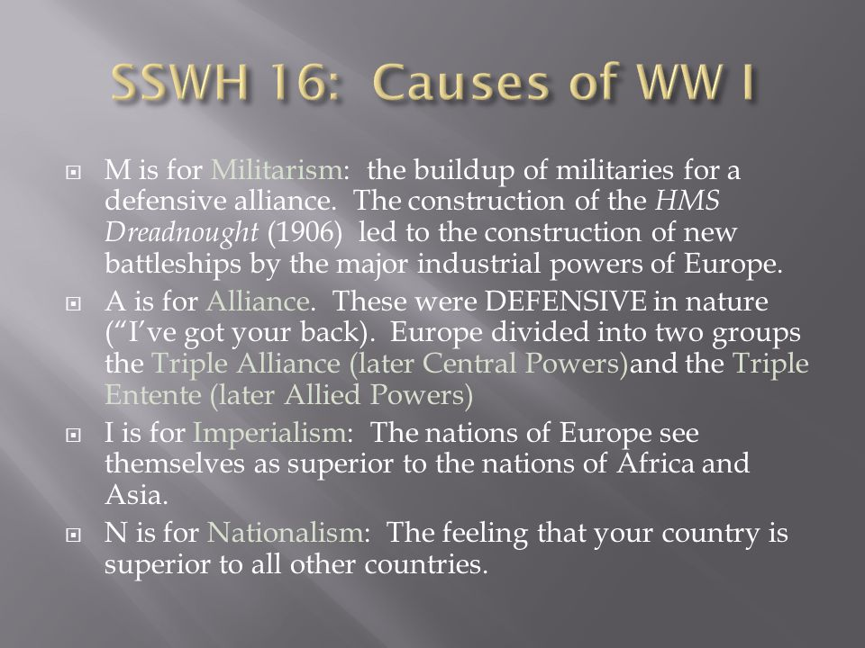  M is for Militarism: the buildup of militaries for a defensive alliance.