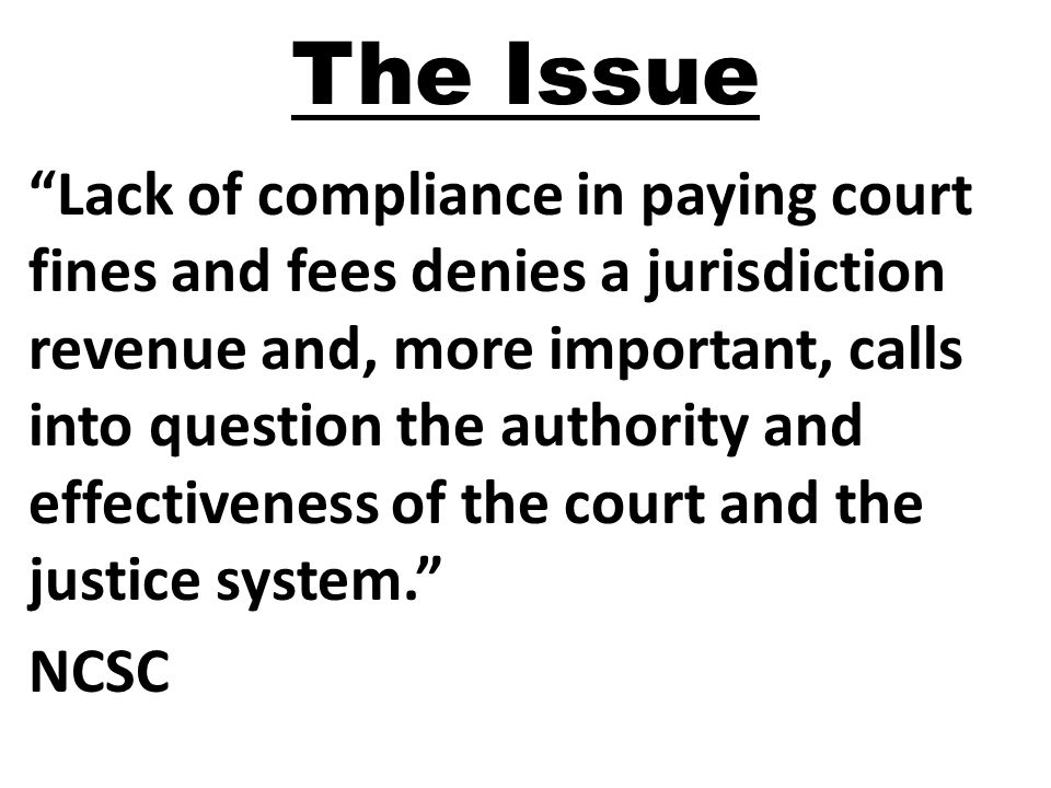 "The Issue ""Lack of compliance in paying court fines and fees denies a jurisdiction revenue and, more important, calls into question the authority and"