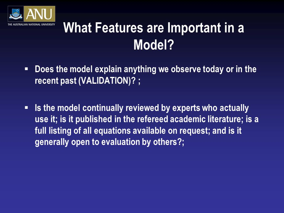 What Features are Important in a Model.