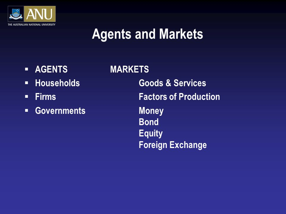 Agents and Markets  AGENTS MARKETS  Households Goods & Services  Firms Factors of Production  Governments Money Bond Equity Foreign Exchange