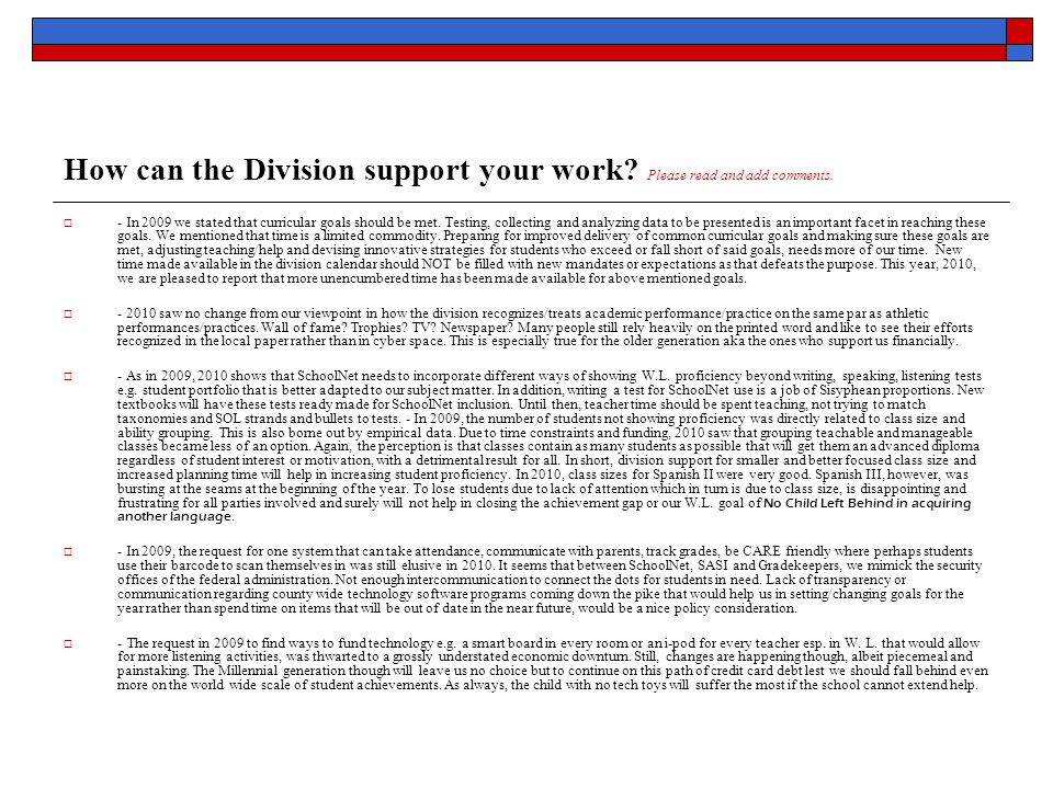 How can the Division support your work. Please read and add comments.