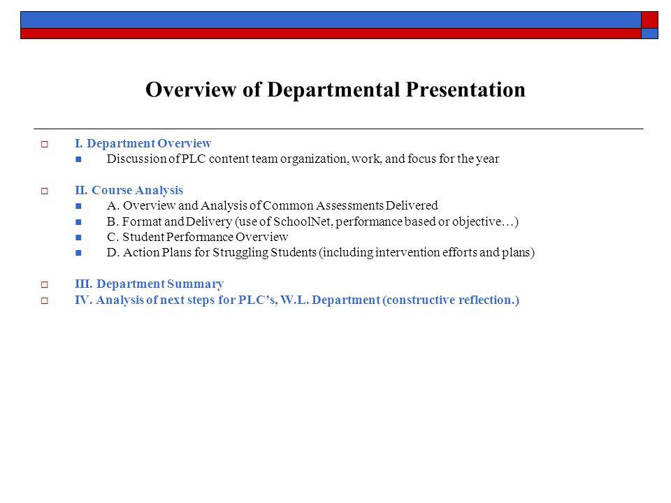 Overview of Departmental Presentation  I.