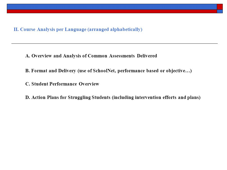 II. Course Analysis per Language (arranged alphabetically) A.