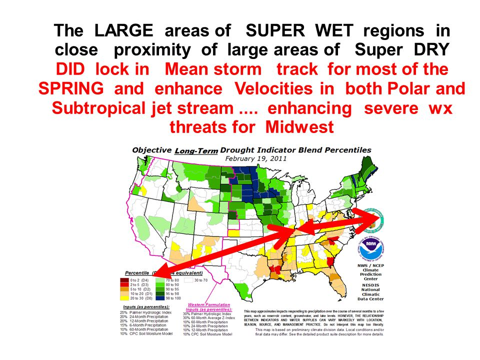 The LARGE areas of SUPER WET regions in close proximity of large areas of Super DRY DID lock in Mean storm track for most of the SPRING and enhance Velocities in both Polar and Subtropical jet stream....