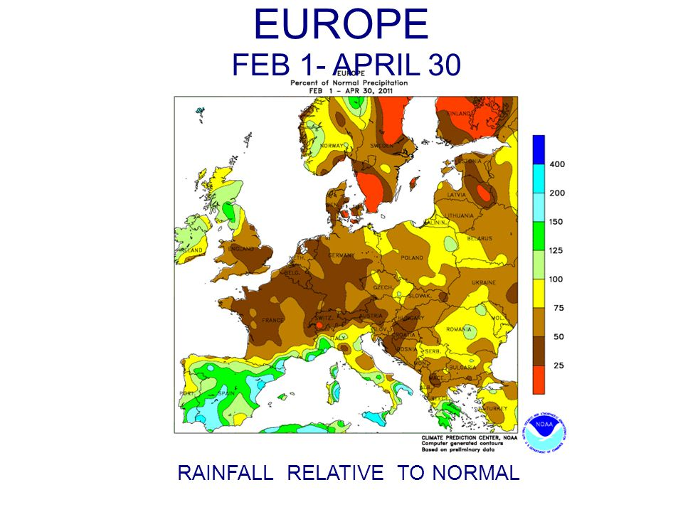 EUROPE RAINFALL RELATIVE TO NORMAL FEB 1- APRIL 30