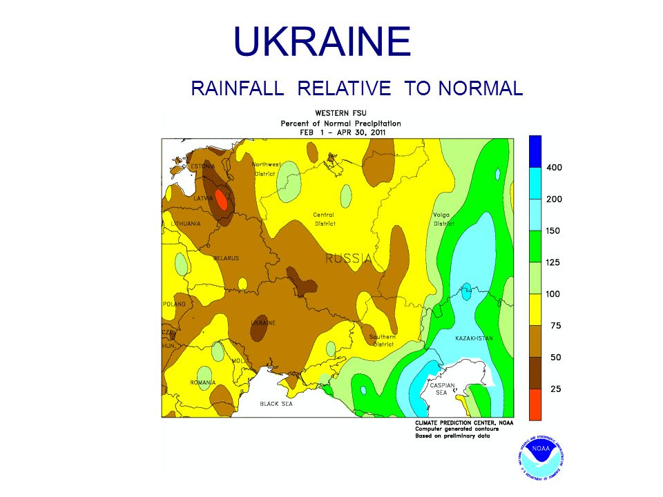 UKRAINE RAINFALL RELATIVE TO NORMAL