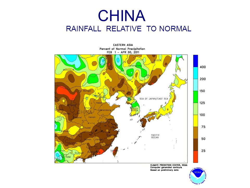 CHINA RAINFALL RELATIVE TO NORMAL