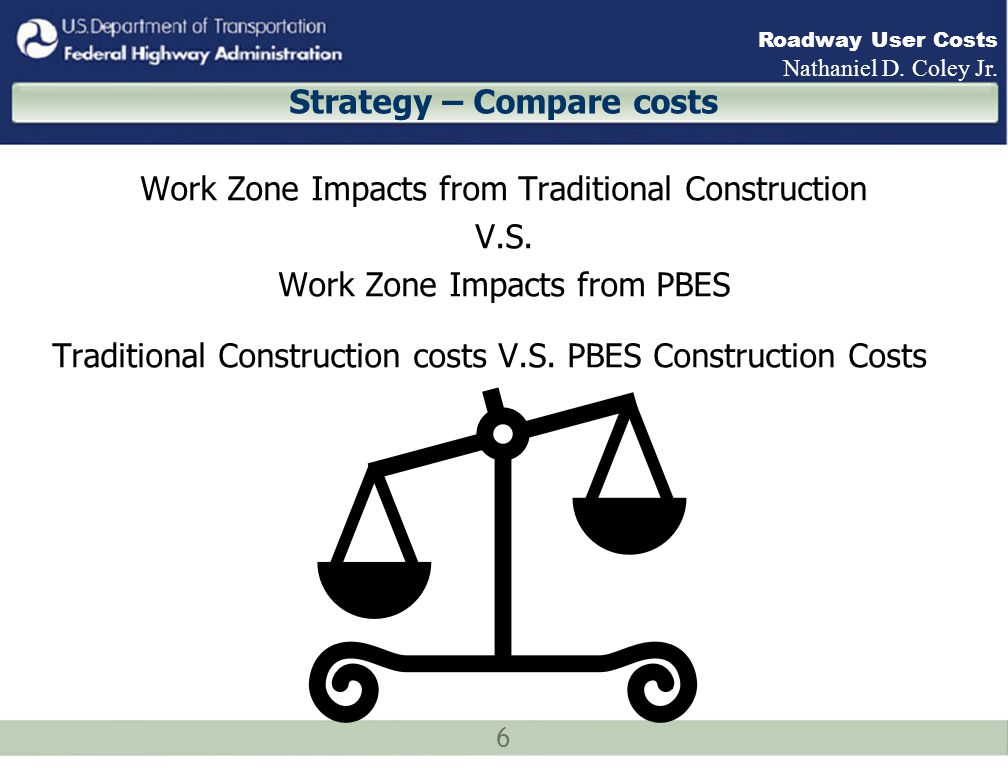 17 Roadway User Costs Nathaniel D.Coley Jr. Example Traditional Concrete Girder Construction vs.
