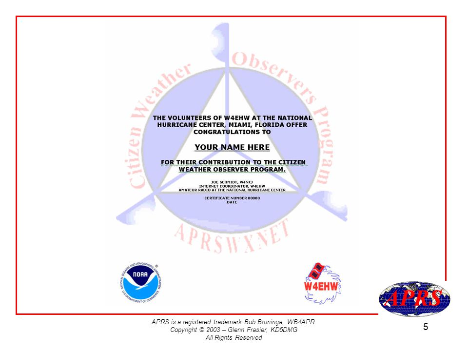 APRS is a registered trademark Bob Bruninga, WB4APR Copyright © 2003 – Glenn Frasier, KD5DMG All Rights Reserved 5