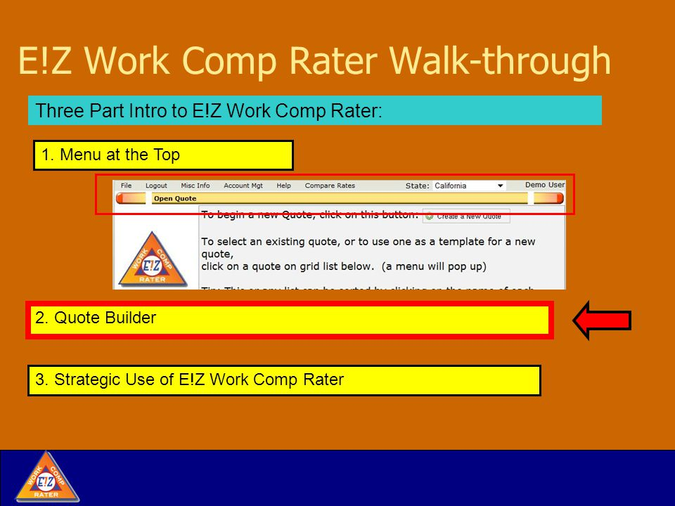 Quote Building with E!Z Work Comp Rater: Class Code Select Screen Sort by code name or number.