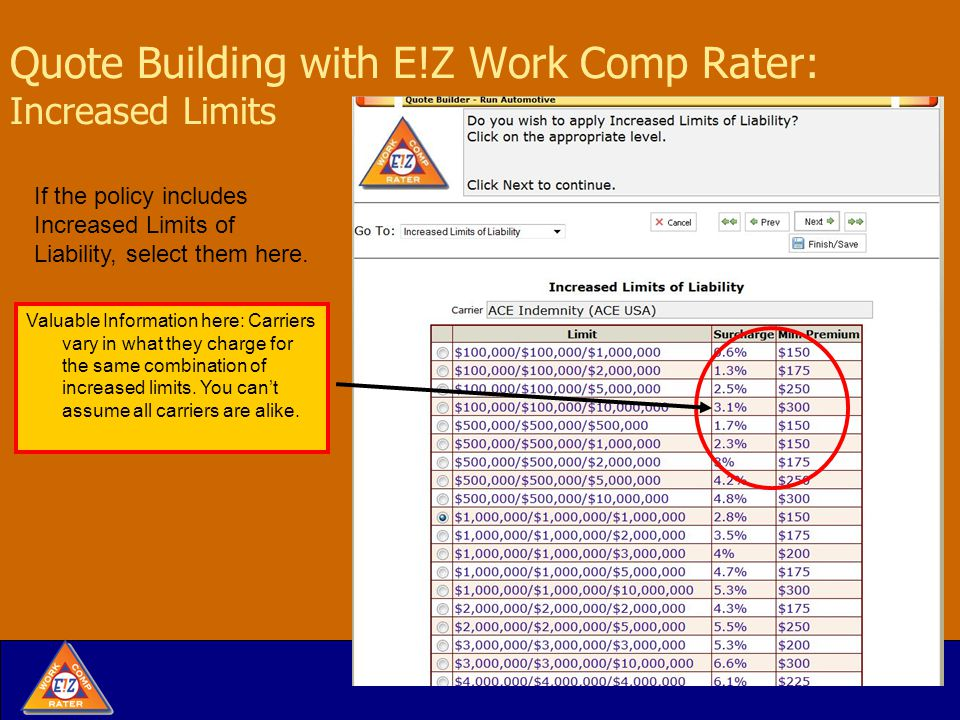 Quote Building with E!Z Work Comp Rater: Increased Limits If the policy includes Increased Limits of Liability, select them here.