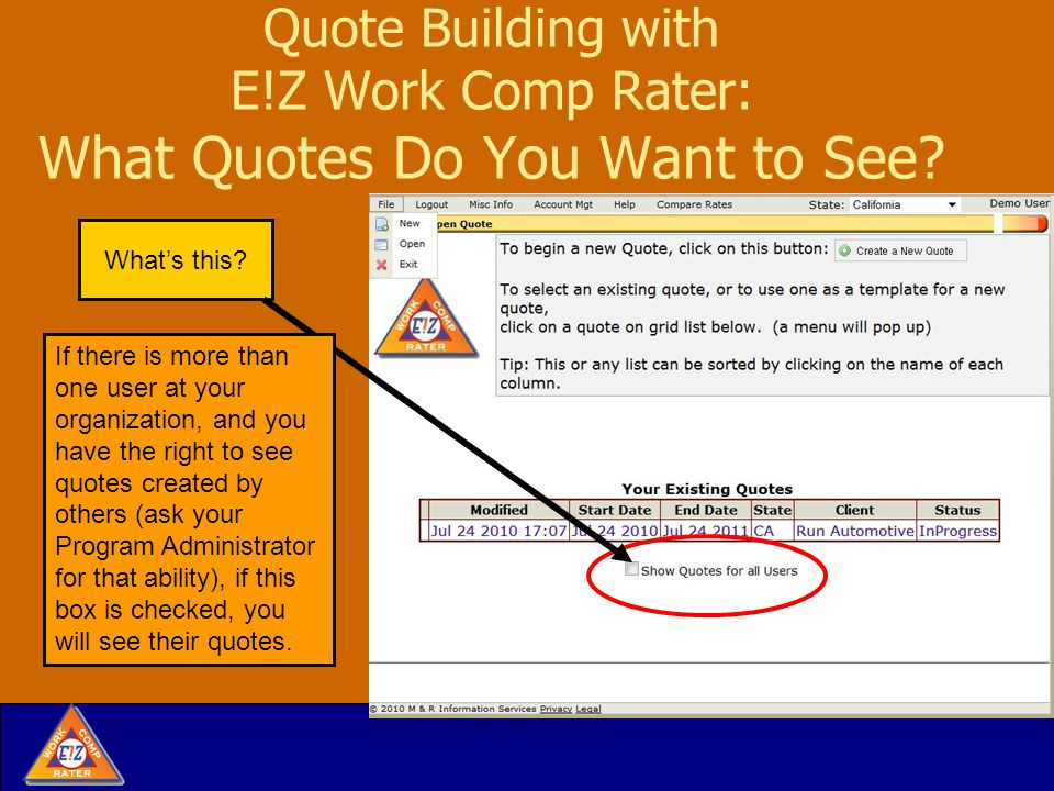 Quote Building with E!Z Work Comp Rater: Detour to Menu at Top When you are in a Quote, two more tools appear in Misc.