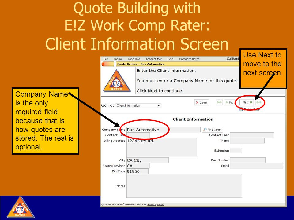 Quote Building with E!Z Work Comp Rater: Credit & Surcharges You also will see the % affect on premium on each adjustment screen.