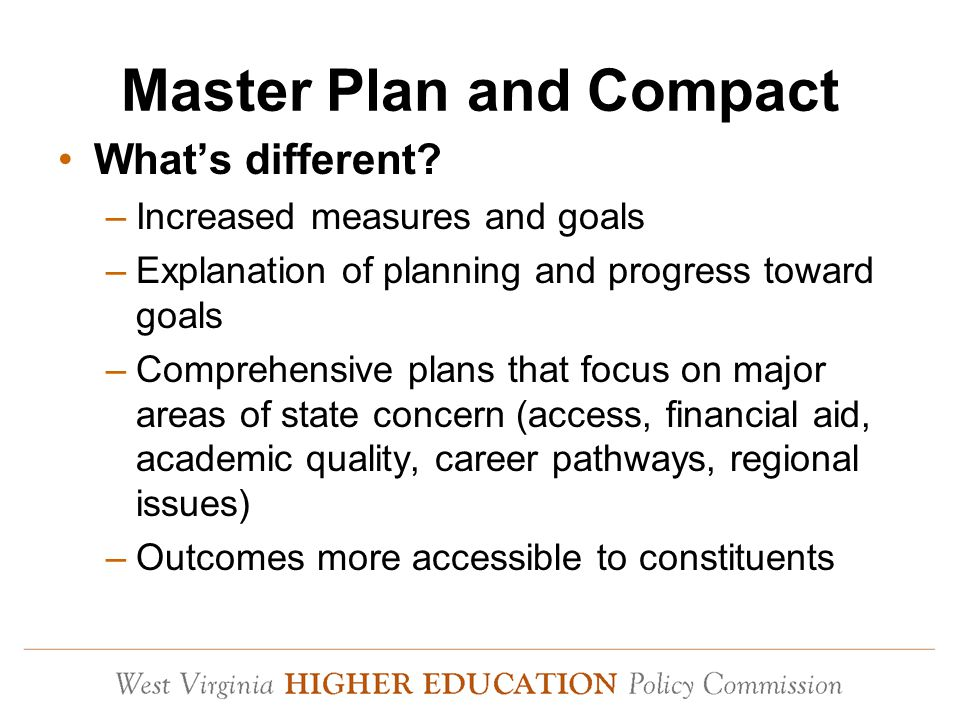 Master Plan and Compact What's different.