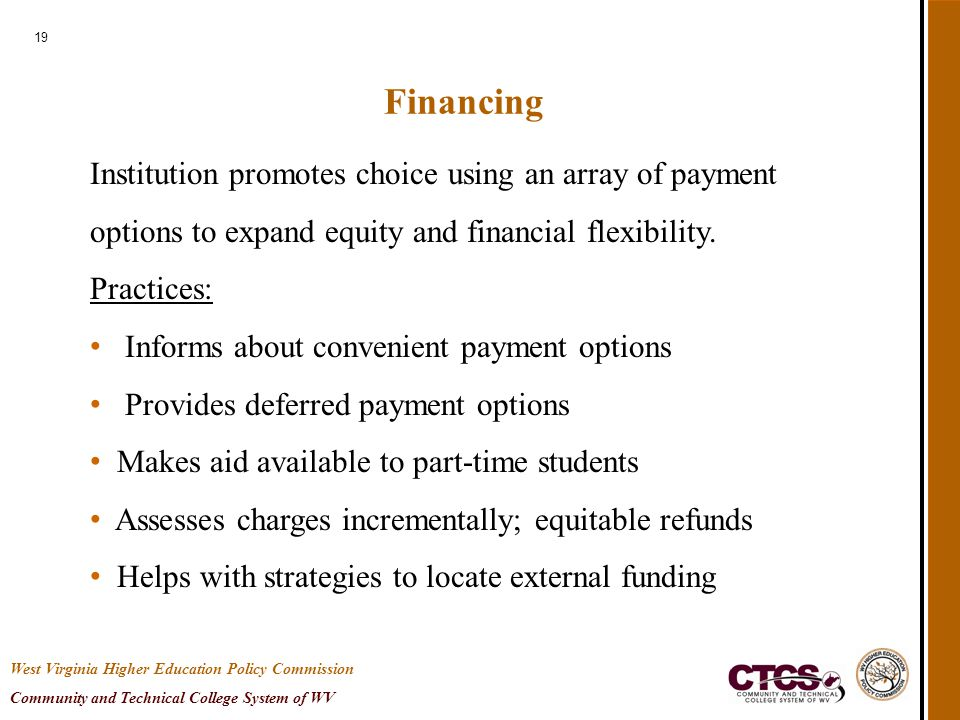 19 Financing Institution promotes choice using an array of payment options to expand equity and financial flexibility. Practices: Informs about conven