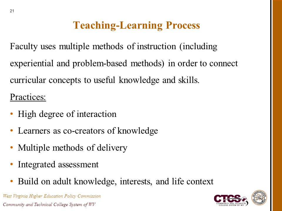 21 Teaching-Learning Process Faculty uses multiple methods of instruction (including experiential and problem-based methods) in order to connect curricular concepts to useful knowledge and skills.