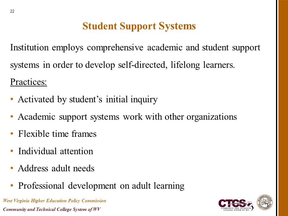 22 Student Support Systems Institution employs comprehensive academic and student support systems in order to develop self-directed, lifelong learners.