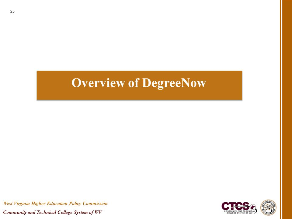 Overview of DegreeNow 25 West Virginia Higher Education Policy Commission Community and Technical College System of WV